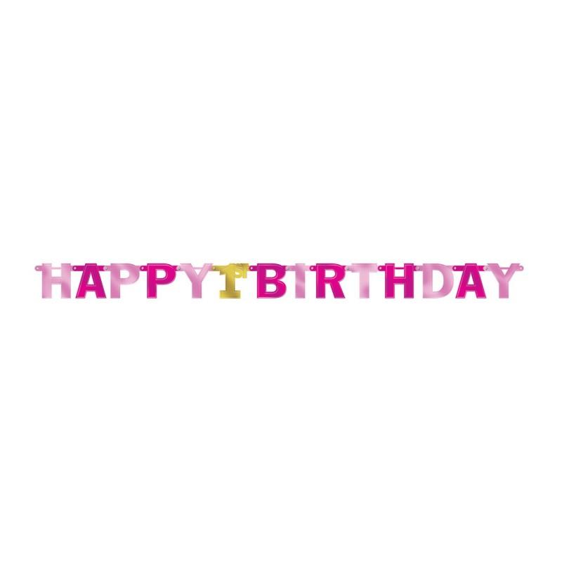 "Dekoracija ""Happy Birthday 1-asis""/rož."