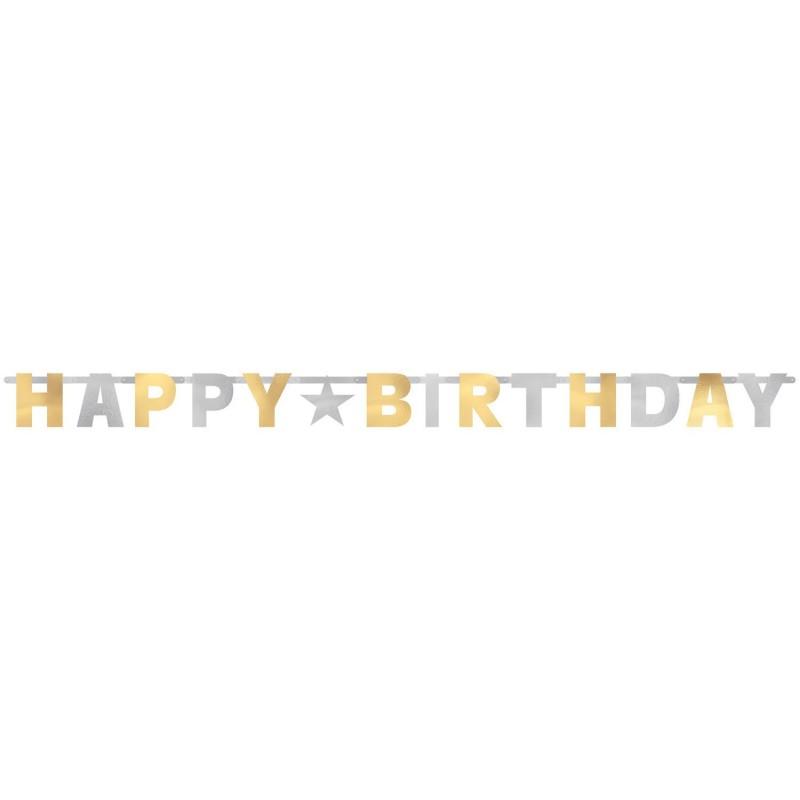 """Dekoracija """"Happy birthday""""/auks-sidab"""