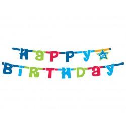 """Dekoracija """"Happy birthday""""/mėlyna"""