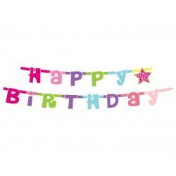 """Dekoracija """"Happy birthday""""/rožinė"""