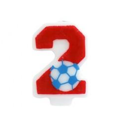 """Žvakutė skaičius """"2"""" su futbolo kamuoliu"""