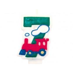 """Žvakutė skaičius """"7"""" su traukinuku"""