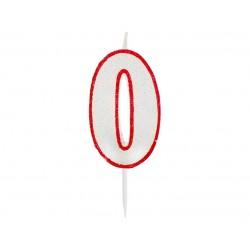 """Žvakutė """"0"""" raudonais kraštais"""