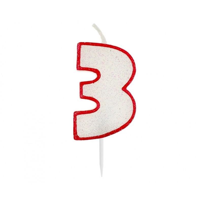 """Žvakutė """"3"""" raudonais kraštais"""