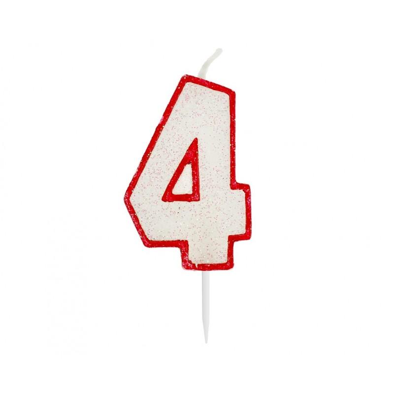 """Žvakutė """"4"""" raudonais kraštais"""