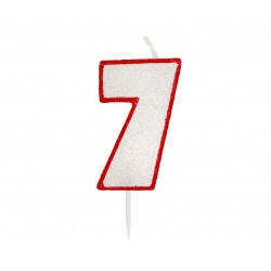 """Žvakutė """"7"""" raudonais kraštais"""