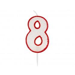 """Žvakutė """"8"""" raudonais kraštais"""