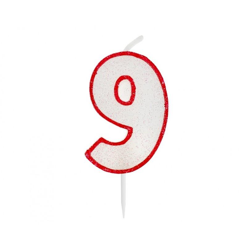 """Žvakutė """"9"""" raudonais kraštais"""