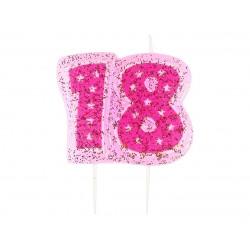 """Žvakutė tortui """"18"""" rožinė"""