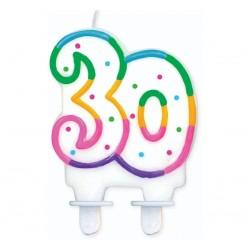 """Torto žvakutė """"30"""" taškuota"""