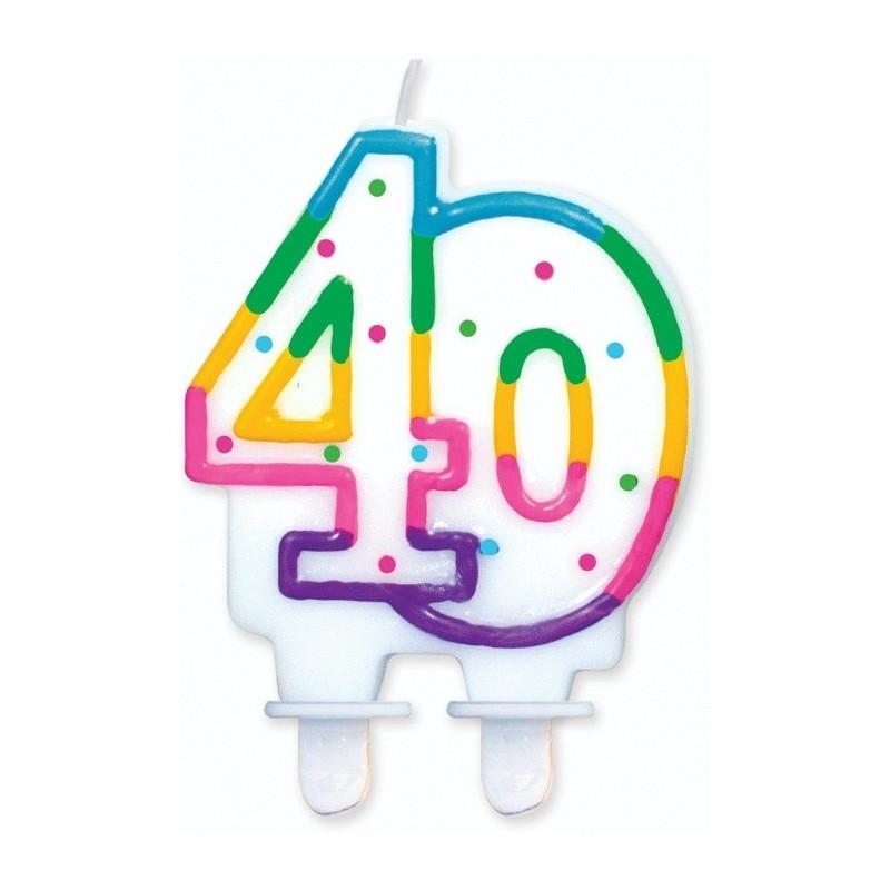 """Torto žvakutė """"40"""" taškuota"""