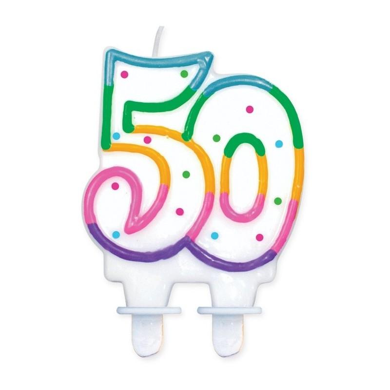 """Torto žvakutė """"50"""" taškuota"""
