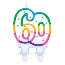 """Torto žvakutė """"60"""" taškuota"""