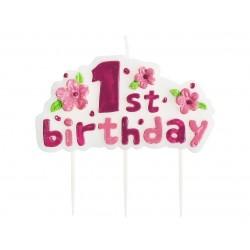 """Žvakutė tortui skaičius """"1""""/rožinė"""
