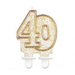 """Torto žvakutė """"40"""" auksiniu krašteliu"""
