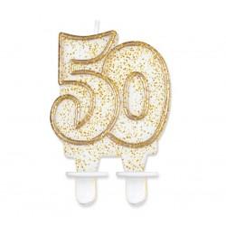 """Torto žvakutė """"50"""" auksiniu krašteliu"""