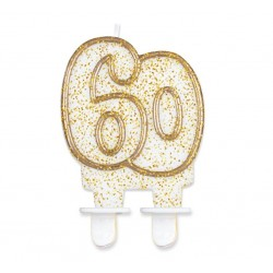 """Torto žvakutė """"60"""" auksiniu krašteliu"""