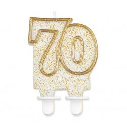"""Torto žvakutė """"70"""" auksiniu krašteliu"""