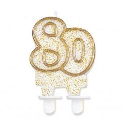 """Torto žvakutė """"80"""" auksiniu krašteliu"""