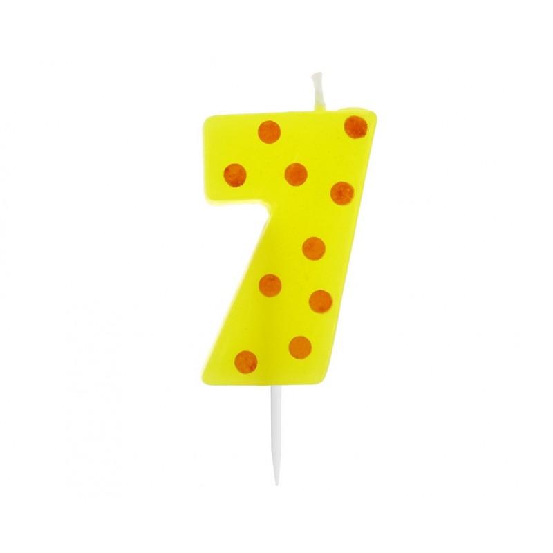 """Žvakutė """"7"""" su taškeliais"""