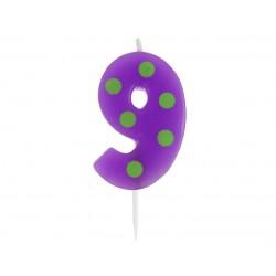 """Žvakutė """"9"""" su taškeliais"""