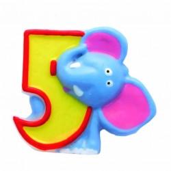 """Žvakutė """"5"""" su drambliuku"""