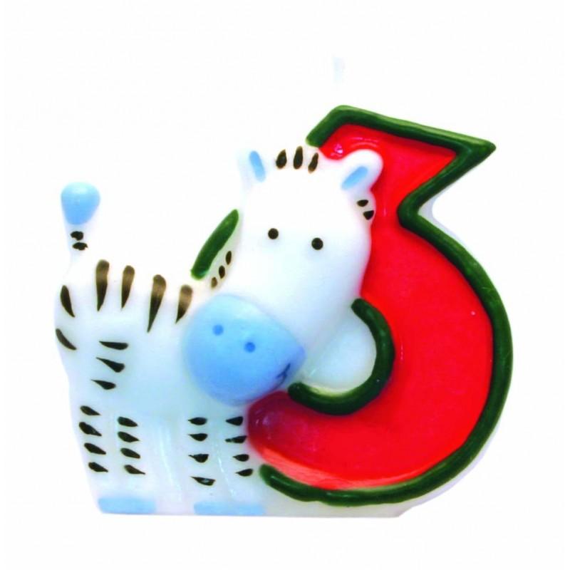 """Žvakutė """"6"""" su zebru"""