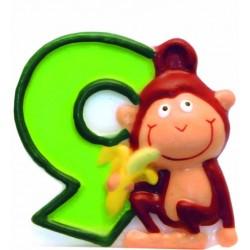 """Žvakutė """"9"""" su beždžionėle"""