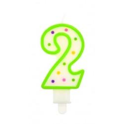 """Torto žvakutė """"2"""" žalia"""