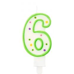 """Torto žvakutė """"6"""" žalia"""