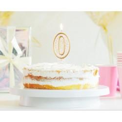 """Torto žvakutė """"0"""" auksiniu krašteliu"""