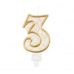 """Torto žvakutė """"3"""" auksiniu krašteliu"""