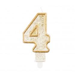 """Torto žvakutė """"4"""" auksiniu krašteliu"""