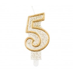 """Torto žvakutė """"5"""" auksiniu krašteliu"""