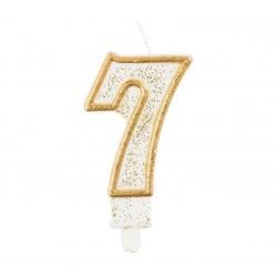 """Torto žvakutė """"7"""" auksiniu krašteliu"""