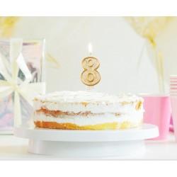 """Torto žvakutė """"8"""" auksiniu krašteliu"""