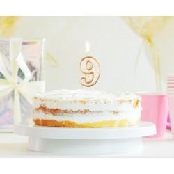 """Torto žvakutė """"9"""" auksiniu krašteliu"""