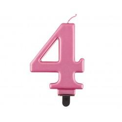 """Torto žvakutė """"4"""" rožinė"""