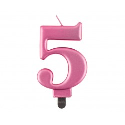 """Torto žvakutė """"5"""" rožinė"""