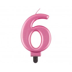 """Torto žvakutė """"6"""" rožinė"""