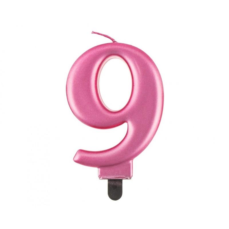 """Torto žvakutė """"9"""" rožinė"""
