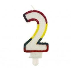 """Blizgi žvakutė """"2"""" spalvotais kraštais"""