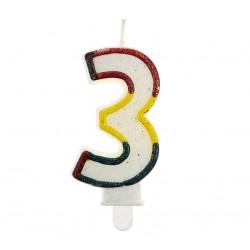 """Blizgi žvakutė """"3"""" spalvotais kraštais"""