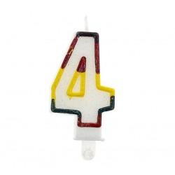 """Blizgi žvakutė """"4"""" spalvotais kraštais"""