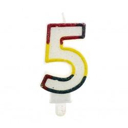 """Blizgi žvakutė """"5"""" spalvotais kraštais"""