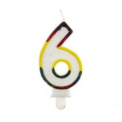 """Blizgi žvakutė """"6"""" spalvotais kraštais"""