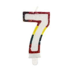 """Blizgi žvakutė """"7"""" spalvotais kraštais"""