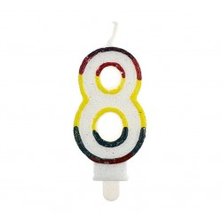 """Blizgi žvakutė """"8"""" spalvotais kraštais"""