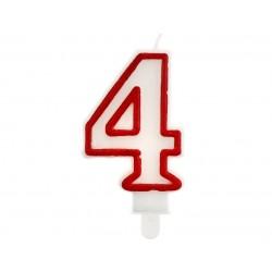 """Žvakutė """"4"""" raudonu kraštu"""