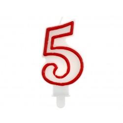 """Žvakutė """"5"""" raudonu kraštu"""